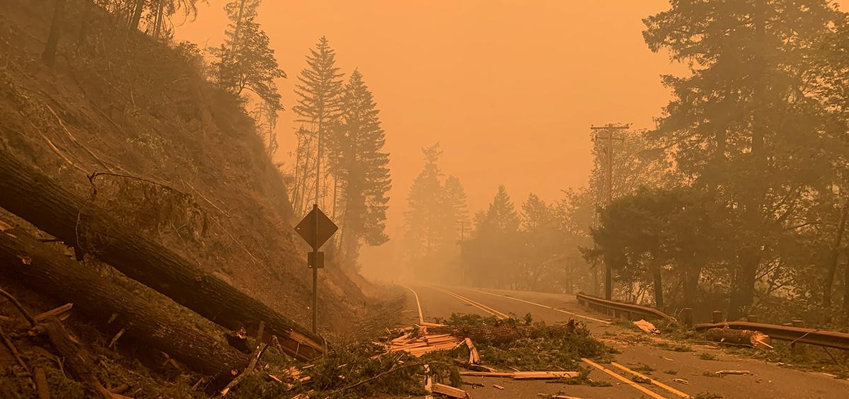 Photo of road in smokey conditions