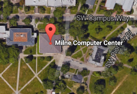 Birdseye view of Milne Computer Center location